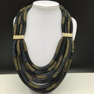 Chico's Seed Bead Filled Mesh Statement Necklace